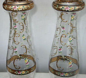 Pair Glass Vase Antique Mantel Lobmeyr Legras St Deni Baccarat Era Enameled