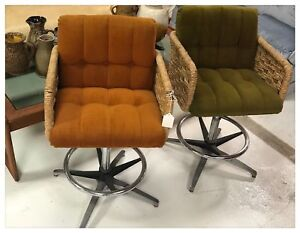Pair Of Mid Century Modern Swivel Rattan Chairs In Orange And Green