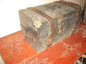 Antique Old Wooden Trunk Chest Box Leather Straps Padlock