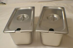 2 1 3 Size Stainless Steel Steam Prep Table Pan W lids 12 3 4 X 7 X 6 Deep