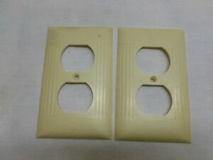 Vtg Art Deco Bakelite Ribbed Electrical Outlet Cover Plate Beige Ivory Lot Of 2
