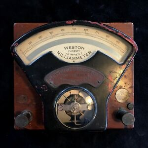 o Vintage Weston Direct Current Volt Meter Model 1 Wood Base Milliammeter