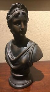 12 Wooden Carved Bust Of A Classical Greek Woman