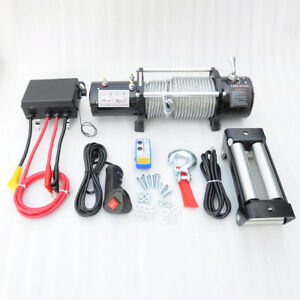 Ma8 12000lb Electric Recovery Winch Universal Dc12v 24v Steel Cable Rope Towing