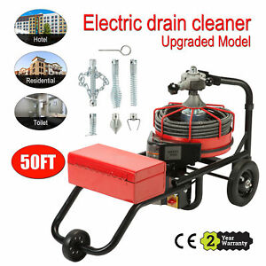 50ft 1 2 Drain Auger Pipe Cleaner Cleaning Machine Sewage Portable Sewer Snake