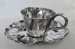 Antique Meiji Japanese Sterling Silver Lily Pad Motif Tea Cup Saucer