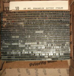 Vintage 10pt franklin Gothic Italic Foundry Type Letterpress Printing Antique