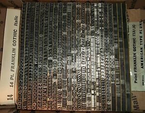Vintage 14pt franklin Gothic Italic Foundry Type Letterpress Printing Antique
