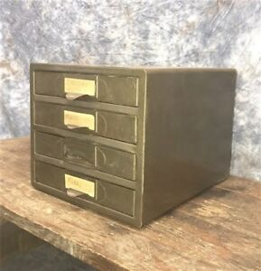 4 Drawer Small Metal Filing Cabinet File Vintage Storage Card Nut Bolt Parts K
