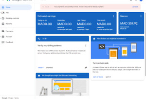 Adsense Account Hosted Not Verified With 38 Dollars In Balance