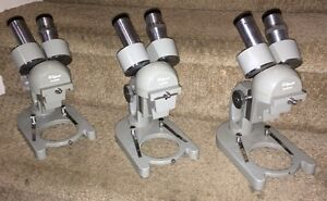 3 Vtg olympus Elgeet Greenough style Dual Objectives 2x 4x Stereo Microscope