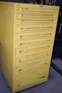 Equipto Yellow 10 Drawer Industrial Tool Parts Cabinet 30 x 28 X 59