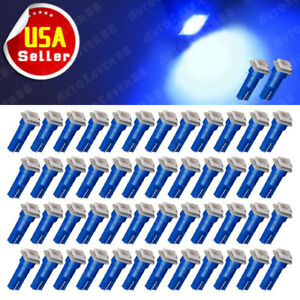 50x Ultra Blue T5 74 73 5050 Led Instrument Panel Dashboard Gauge Light Bulbs