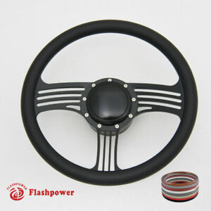 15 5 Black Billet Steering Wheel Black Half Wrap Gto Chevy