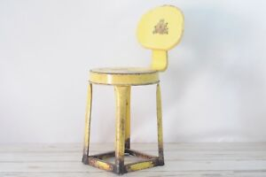 Vintage Kitchen Stool Metal Stool Chair Industrial Stool Metal Chair Yellow