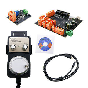 9 axis Cnc Controller Set Stepper Motor Breakout Board handwheel usb Cable cd