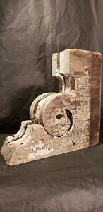 Vintage Antique Large Architectural Salvage Wood Corbel Chippy