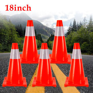5pcs Traffic Cones 18 Slim Fluorescent Red Reflective Road Safety Parking Cones