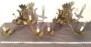 Early 20th Century Antique Bronze Wall Sconces Two Arm Four Light Made In Spain