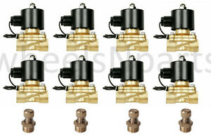 8 Brass Valves W Slow Down Fittings 1 2 npt Air Bag Suspension System 12v