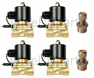 Air Bag Suspension Valves Four 1 2 npt 12v Brass W Slow Down Air System Parts