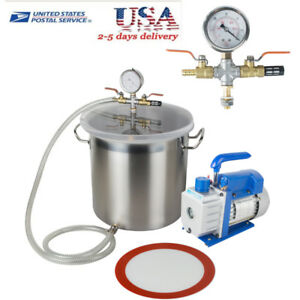 5 Gallon Stainless Steel Vacuum Degassing Chamber Silicone Machine W 3 Cfm Pump