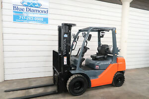 2014 Toyota 8fgu25 5 000 Pneumatic Tire Forklift Lp Gas 3 Stage S s Nice