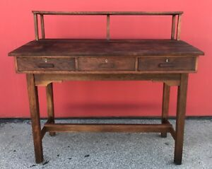 Antique Railroad Train Station Desk Table Oak Industrial Stand Up Craftsman
