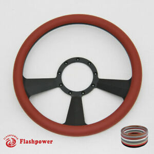 14 Billet Steering Wheels Burgundy Half Wrap Street Rod Gm Corvair Impala Gmc