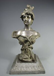 Fine Old Spelter Victorian Style Bust Lamp Base Of A Woman Ca 20th Century