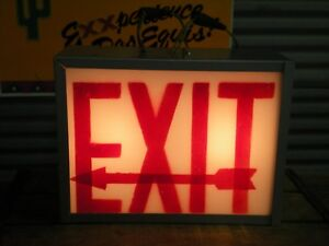 Vintage Metal Painted Acrylic Glass exit Left boxed Sign Lighted Industrial