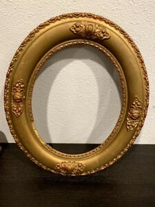 Antique Wood Frame Gesso Gold Carved Oval Vintage Art Ornate
