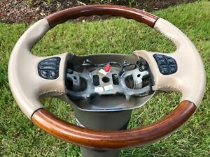 Ford Leather wood Steering Wheel F 250 F 350 Excursions Navi s W Controls