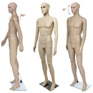Us Male Full Body Realistic Mannequin Display Head Turns Dress Form W base 183cm