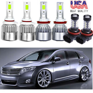 6x Combo Cob Led Headlight Kit Hi Low Fog Light Blue For Toyota Venza 2009 16