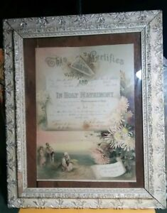 Antique White Gesso Frame 24 Large Ornate Scolls Glass Love Marriage 1890 S