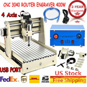 Generic 4 Axis 3040 Cnc Router Engraver Wood Mill Engraving Carving Desktop Usb