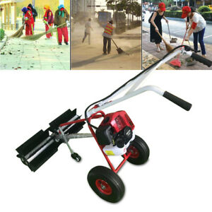 Walk Behind 43cc Gas Power Broom Sweeper Cleaner Driveway Artificial Grass Snow
