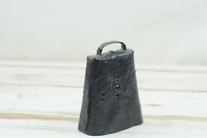 Antique Vintage Black Metal Iron Cow Bell With Clapper Fabulous Deep Sounds