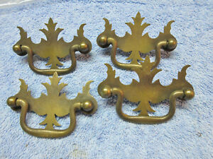 Lot Of 4 Vintage Metal Colonial Chippendale Batwing Dresser Drawer Handle Pulls