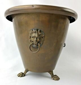 Antique Brass Copper Kettle 3 Lion Head Footed Planter Feet Decor