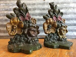 Antique Vintage Flower Floral Cast Iron Metal Book Ends Door Stop