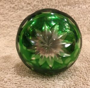 Antique Mercury Glass Green Overlay Cut To Clear French Door Knob 2 1 32