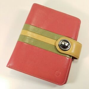 Franklin Covey Compact Pink Green Yellow Leather Planner Binder Organizer