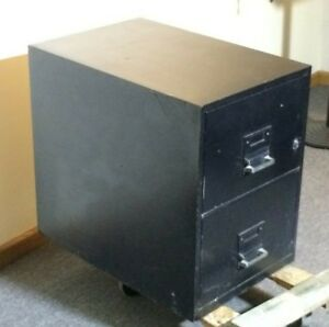 2 Drawer File Fire Proof Cabinet Black