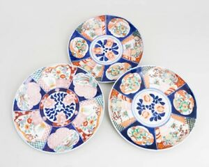 3 Vintage Japanese Hand Painted Porcelain Imari Charger Chop Plates 12