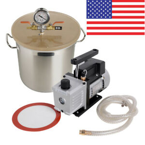 3 Gallon Stainless Steel Vacuum Degassing Chamber Silicone Pump Hose 110v 60hz