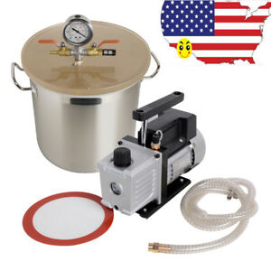 10 In 1 3 Gallon Vacuum Degassing Chamber Silicone Kit W Pump Hose 1 3hp 10pa