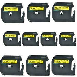 Us Stock 10pk Mk631 M k631 Black On Yellow Label Tape For Brother P touch 1 2