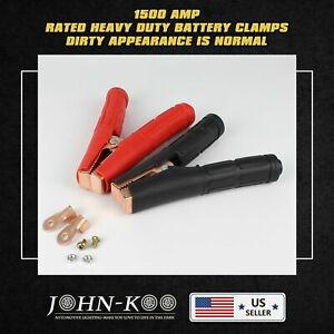 Pair 1500a Car Battery Charger Cable Jump Starter Clips Clamps Jumper Heavy Duty